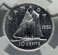 1953 CANADA Queen ELIZABETH II BLUENOSE SHIP Silver 10 Cent NGC Coin i77260