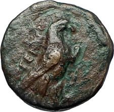 KYME in AEOLIS   Original 350BC Authentic Ancient Greek Coin EAGLE & VASE i68882