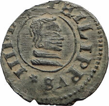 1663 SPAIN King Philip IV Authentic Antique Genuine Spanish Arms Coin i74903