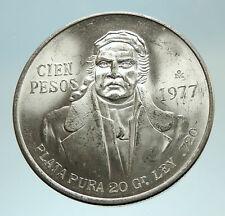 1977 Mexican Independence HERO Jose Maria Morelos Silver 100 Peso Coin i76780