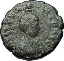 EUDOXIA Arcadius Wife 401AD Authentic Ancient Roman Coin VICTORY CHI-RHO i68190