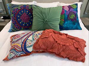 anthropologie orange pillow shams for