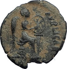 EUDOXIA Arcadius Wife 401AD Authentic Ancient Roman Coin VICTORY CHI-RHO i67729