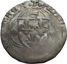 1515 FRANCE King FRANCIS I Billon Grand Blanc Antique Coin w FLEUR-DE-LYS i66741
