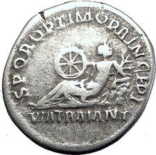 TRAJAN 112AD Rome's Via Traiana Extended Via Appia Road Silver Roman Coin i63337