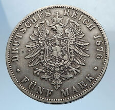 1876 Germany GERMAN STATES Wurttemberg King WILHELM I Antique Silver Coin i71793