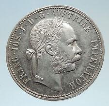 1885 AUSTRIA w King FRANZ JOSEPH I Antique Geniuine Silver 1 Florin Coin i75303