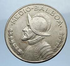 1966 PANAMA Big 3cm Vintage Silver Spanish CONQUISTADOR Half BALBOA Coin i69478