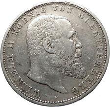1902 Germany GERMAN STATES Wurttemberg w WILHELM II Antique Silver Coin i73919