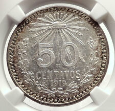 1919 MEXICO City Silver 50 Centavos Mexican Coin EAGLE CACTUS SERPENT NGC i71344