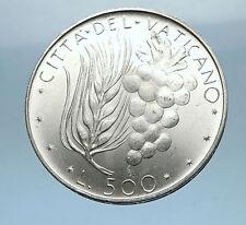 1974 VATICAN City POPE PAUL VI 0.29oz Silver 500 Lire Coin w Wheat Grapes i68323