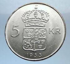 1955 SWEDEN King GUSTAV VI ADOLF 5 Kronor LARGE Silver SWEDISH Coin  i71805