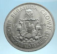 1964 Bermuda British Colony LARGE Elizabeth II Antique Silver Crown Coin i77458