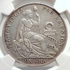 1916 PERU South America 1 SOL Antique Original Silver Peruvian Coin NGC i71330