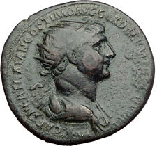 TRAJAN 115AD Rome Dupondius Authentic Ancient Roman Coin FELICITAS i64460