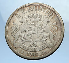 1907 SWEDEN King Oscar II Antique Silver 2 Kronor SWEDISH Vintage Coin i69893
