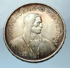 1966 Switzerland Founding HERO WILLIAM TELL 5 Francs Silver Swiss Coin i68270