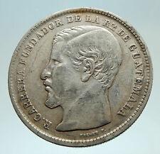 1870 GUATEMALA Rafael Carrera Founder Genuine Antique Silver Peso Coin i73784