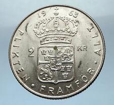 1963 SWEDEN King GUSTAV VI ADOLF 2 Kronor LARGE Silver SWEDISH Coin  i68224