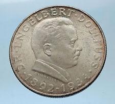 1934 Austria HERO Engelbert Dollfuss Genuine Silver Coin w Austrian Eagle i68578