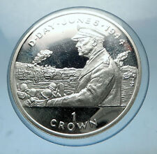 1994 ISLE of MAN Silver Crown Coin 1944 D-DAY WWII US General Eisenhower i68528