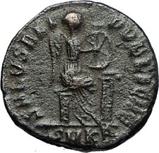 EUDOXIA Arcadius Wife 401AD Authentic Ancient Roman Coin VICTORY CHI-RHO i67016