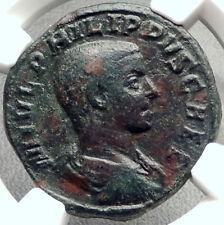 PHILIP II as Caesar Original Ancient 244AD Rome Sestertius Roman Coin NGC i68774