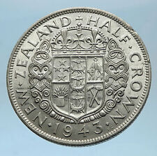 1943 NEW ZEALAND under UK King George VI Silver 1/2 Crown Coin Shield i68596