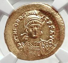 THEODOSIUS II Authentic Ancient 441AD Gold Solidus Roman Coin NGC MS i72397