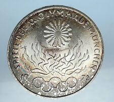 1972 GERMANY Munich Summer Olympics Commemorative Silver 10 Mark Coin i68234