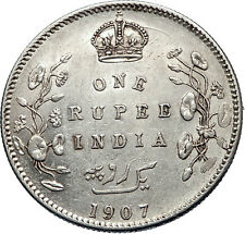 1907 King EDWARD VII of United Kingdom EMPEROR British INDIA Silver Coin i71903