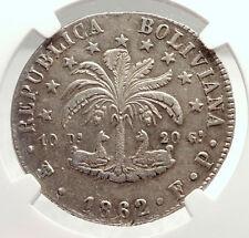 1862 PTS FP Bolivia LARGE Antique 8 Sol Silver Coin w SIMON BOLIVAR NGC  i71327