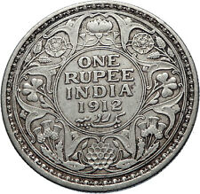 1912 INDIA UK King George V Silver Antique RUPEE Vintage Indian Coin i71850