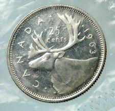 1963 CANADA United Kingdom Queen Elizabeth II CARIBOU Silver 25 Cent Coin i76490