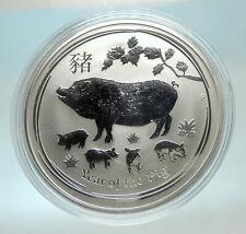 2019 AUSTRALIA Elizabeth II Chinese Zodiac Pig Year Genuine Silver Coin i76593