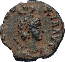EUDOXIA Arcadius Wife 401AD Authentic Ancient Roman Coin VICTORY CHI-RHO i67206