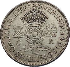1941 United Kingdom Great Britain GEORGE VI Silver Florin 2Shillings Coin i71951