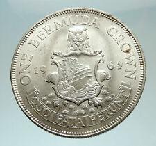 1964 Bermuda British Colony LARGE Elizabeth II Antique Silver Crown Coin i76887