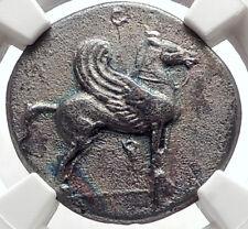 CORINTH Ancient 405BC Silver Greek Stater Coin ATHENA & PEGASUS NGC XF i66892