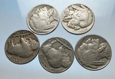 GROUP of 5 Antique UNITED STATES US Buffalo Nickel Coins NATIVE AMERICAN i70767