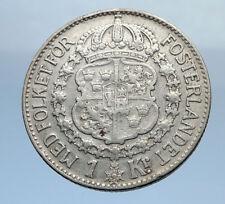 1939 Sweden GUSTAF V Silver Krona Crowned ARMS Antique Vintage Coin i69891