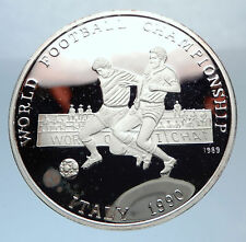 1898 PROOF Afghanistan 1990 Silver WORLD SOCCER 500 Afghanis Vintage Coin i71904