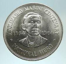 1964 PHILIPPINES Birth of HERO Apolinario Mabini Large 1 Peso SILVER Coin i76811