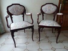 1 paire de 2 fauteuils ou chaises avec accoudoir art nouveau ancien en bois