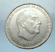 1966 Francisco Franco Cadillo of Spain 100 Pesetas Silver Spanish Coin i68241