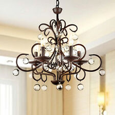 New Listingwrought Iron And Crystal 5 Light Chandelier