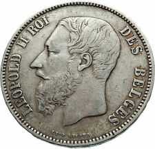 1873 BELGIUM with King LEOPOLD II and LION Genuine Silver 5 Francs Coin i75396