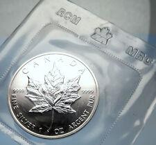 1989 CANADA Authentic Silver 1oz Coin UK Queen Elizabeth II & MAPLE LEAF i70905