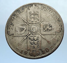 1920 United Kingdom Great Britain GEORGE V Silver Florin 2 Shillings Coin i69902