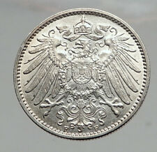 1915 WILHELM II of GERMANY 1 Mark Antique German Empire Silver Coin Eagle i64595